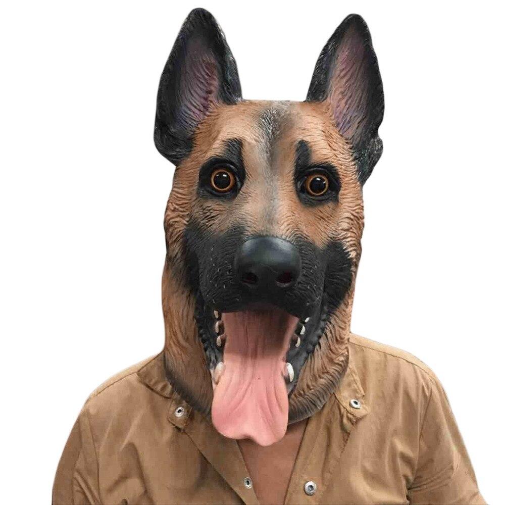 Hund Kopf Latexmaske Vollen Erwachsene Maske Atmungs Halloween Maskerade Kostümfest Cosplay Schöne Tier Maske