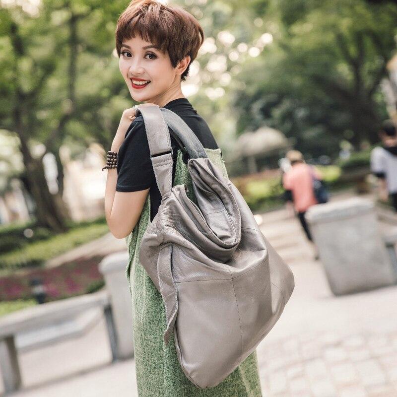 2019 nowych prawdziwej skóry duże kobiety torebka torebka kobieca do noszenia na ukos letnie dziewczyny torby na ramię torba skóra bydlęca w Torby z uchwytem od Bagaże i torby na  Grupa 1