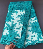 floral neat embroidery teal French lace 2018 latest design African lace Tulle fabric with stones beads 5 yards high quality