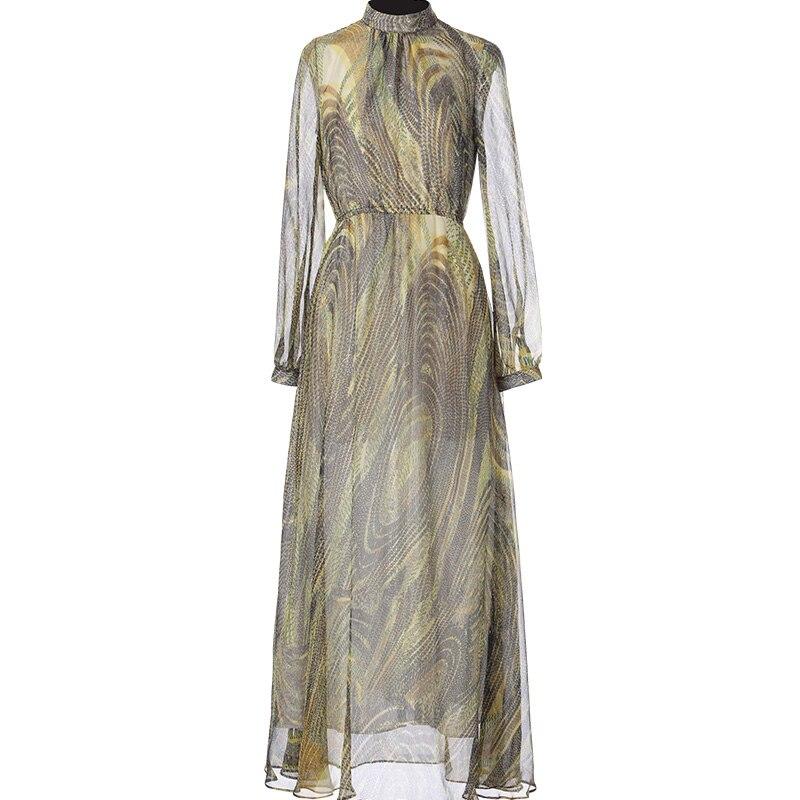 Col Printemps À Multi Longues Vintage Longue Parti Manches Femmes Stand Marque Élégant Tulle En Robes Soie Robe 2018 Été FqnwdO