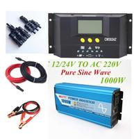 SOLAR OFF GRID KITS 1000W PURE SINE INVERTER + 30A CONTROLLER 12/24V BATTERY CABLE LEADS