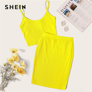Image 3 - SHEIN Neon Rib Knit Crop Cami Top And Skinny Skirt Set Sexy Solid Sleeveless 2 Piece Set Spaghetti Strap Women Set