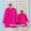 Outono inverno kids clothing família mãe e filha paternidade mãe casaco menina mulher maternidade borboleta fluorescência rosa vermelha