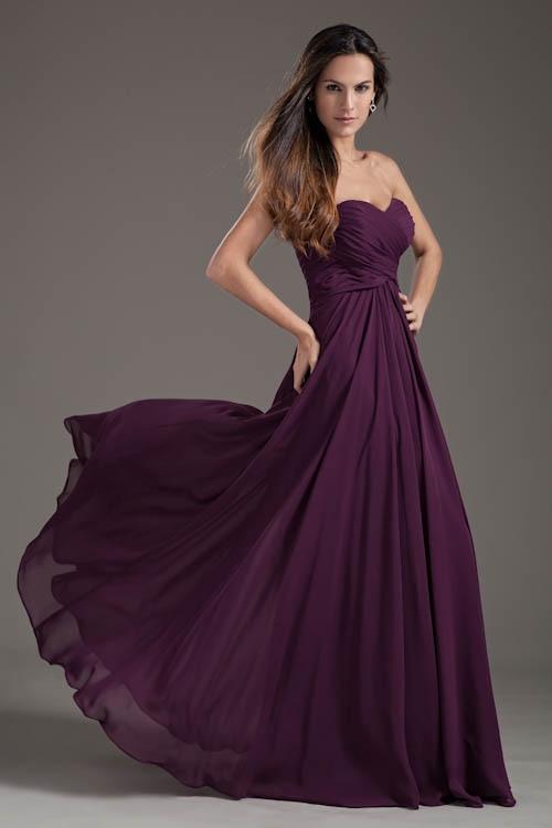 Robe Demoiselle D'honneur Sexy Purple Lace up   Bridesmaid     Dresses   Long Cheap Sweetheart Neck Chiffon Long Wedding Guest   Dress