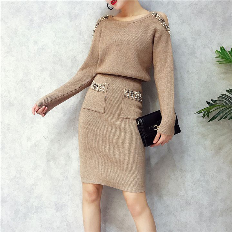 Casual khaki Pullover Sweater Dress Suit & Set Women Long Sleeve