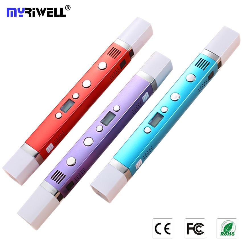 Myriwell USB 3d pluma, soporte móvil alimentación 3D bolígrafos, pantalla LED 3D modelo Smart 3d pluma impresión niño regalo de cumpleaños