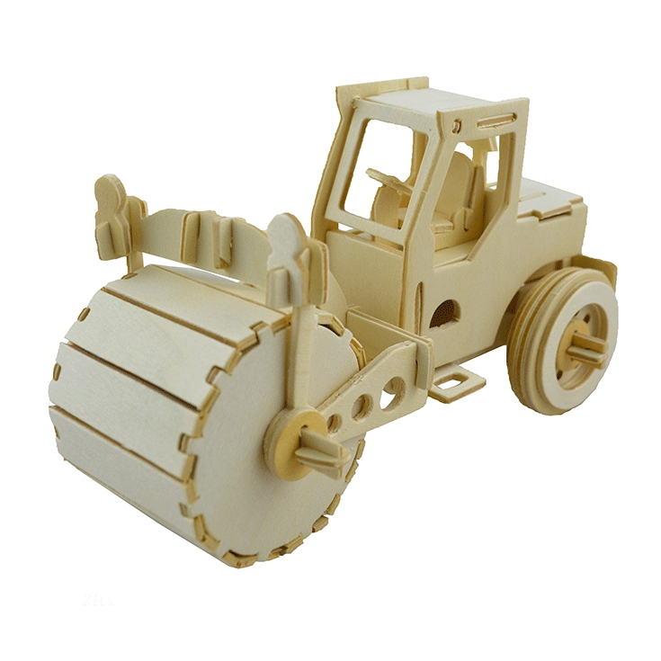 Scale Road Roller 3D Wooden Model Toy Educational 20.2*10.2*12cm