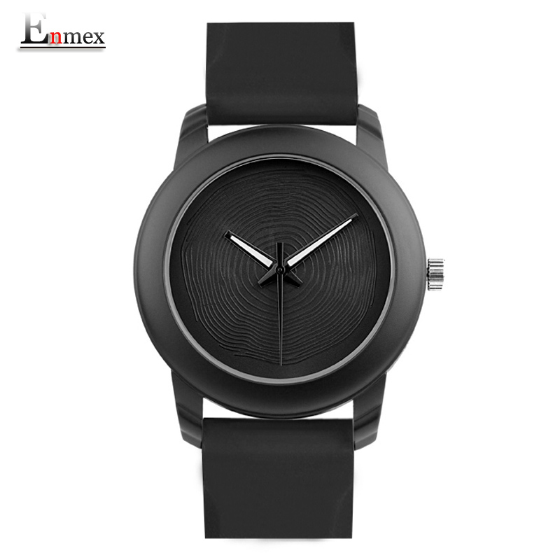 Enmex regalo creativo estilo de señora reloj negro 3D vórtice cara banda de silicona diseño creativo Luminoso breve reloj de cuarzo ocasional