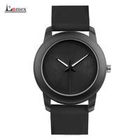 Gift Enmex Creative Style Lady Wristwatch Black 3D Vortex Face Creative Design Silicone Band Luminous Brief