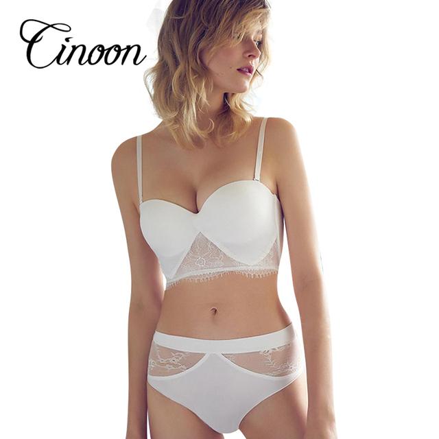 2017 Sexy eyelash lace patchwork vest broad-brimmed black and white design soft sponge cup summer underwear bra set