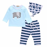 Children Girls Tracksuits Clothing Set Elephant Pattern T Shirt And Striped Pants And Printing Hats Casual