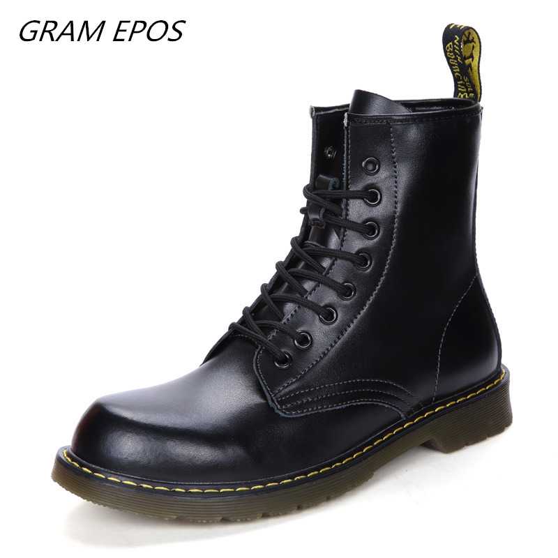 Unisex Big Size 47 British Motorcycle Autumn Winter Shoes Cowhide Leather Men Boots Winter Warm Plush Ankle Boots Riding Sneaker