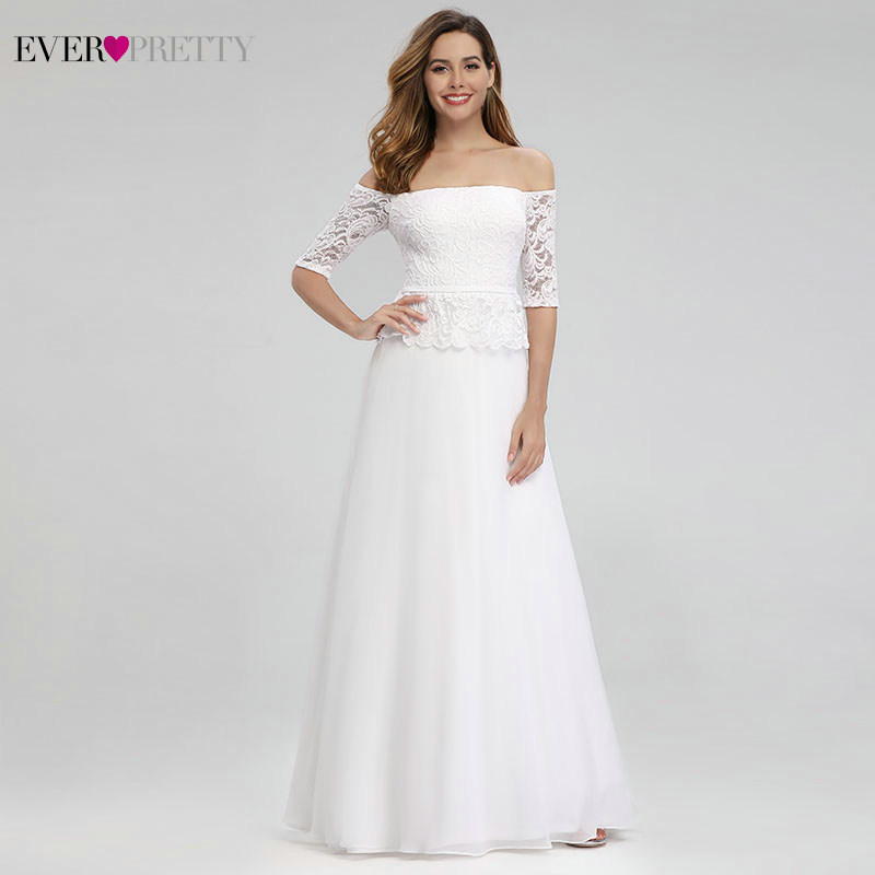 Robe De Soiree Femme Ever Pretty White Evening Dresses Off The Shoulder Half Sleeve Elegant Lace Formal Dresses For Party 2020
