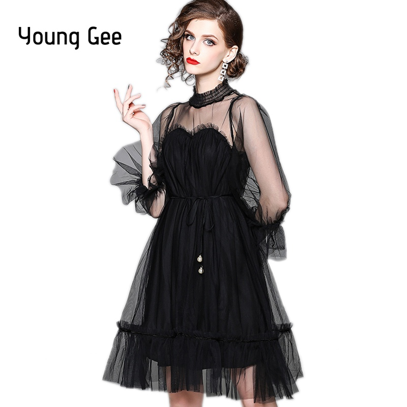 62002d01af Young Gee Sweet Summer Autumn Sexy Mesh Long Sleeve Lace Loose Dresses  Women Ruffles Party Midi Runway Elegant Dresses vestidos