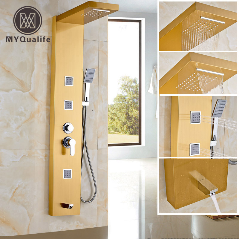 Golden Stainless Steel Panel Shower Column Rainfall Shower Panel 3pcs Massage System Faucet with Jets & Hand Shower