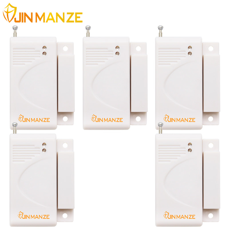 5pcs/lot Brandnew White 433MHz Wireless Door Window Security Magnet Sensor Detector with Battery for Home Alarm System wireless vibration break breakage glass sensor detector 433mhz for alarm system