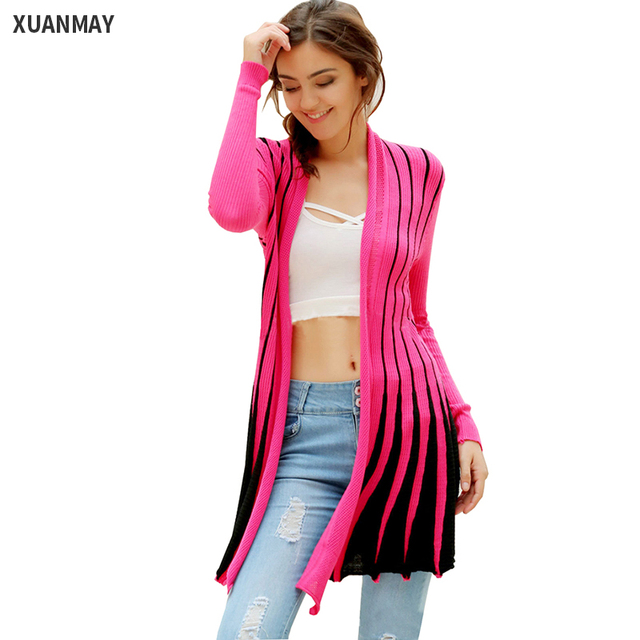 Leisure Slim Color Striped knit Cardigan shawl ladies Long sweater ...
