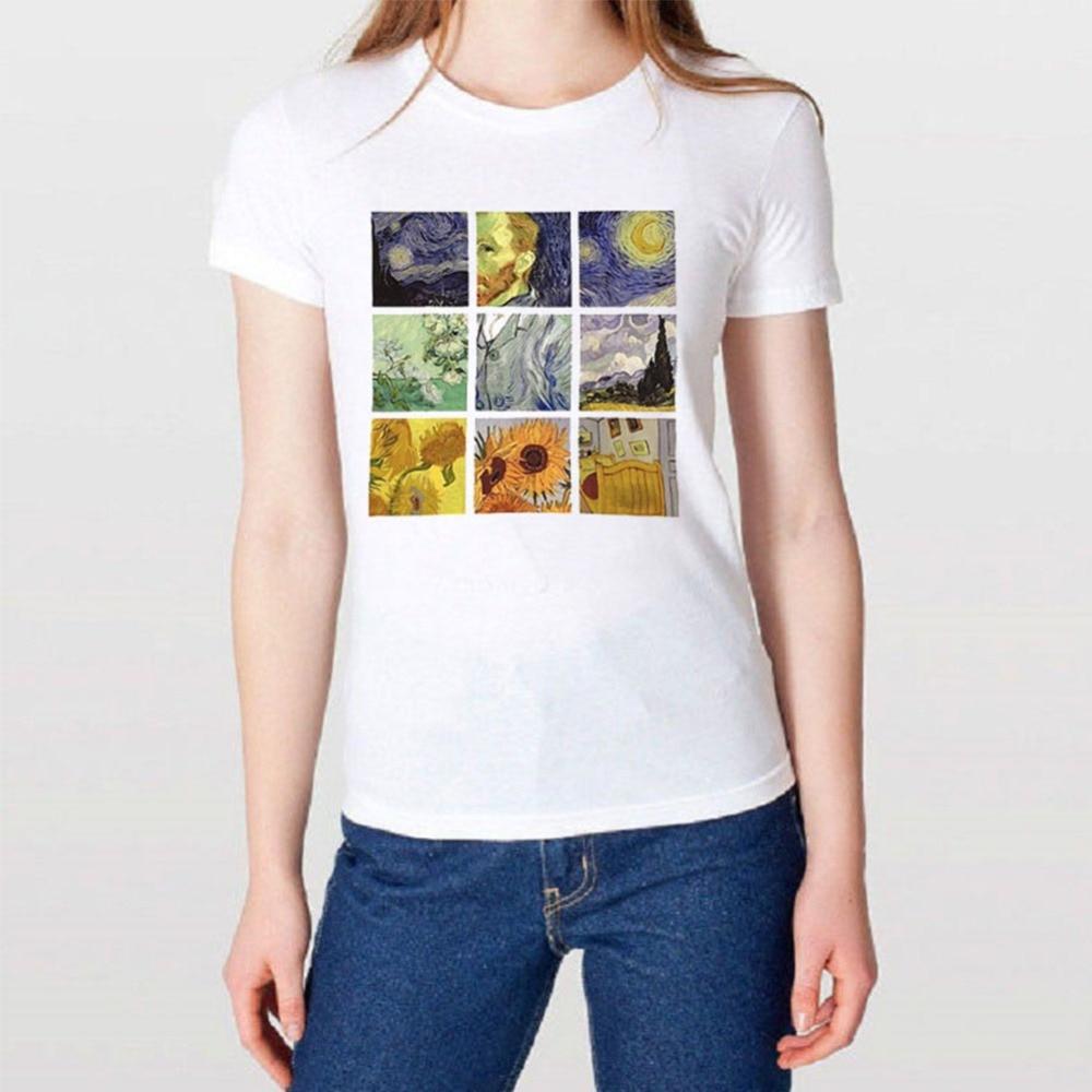 Kadin Giyim Ten Tisortler De Kadin T Shirt Yaz Kadin Gogh Boyama