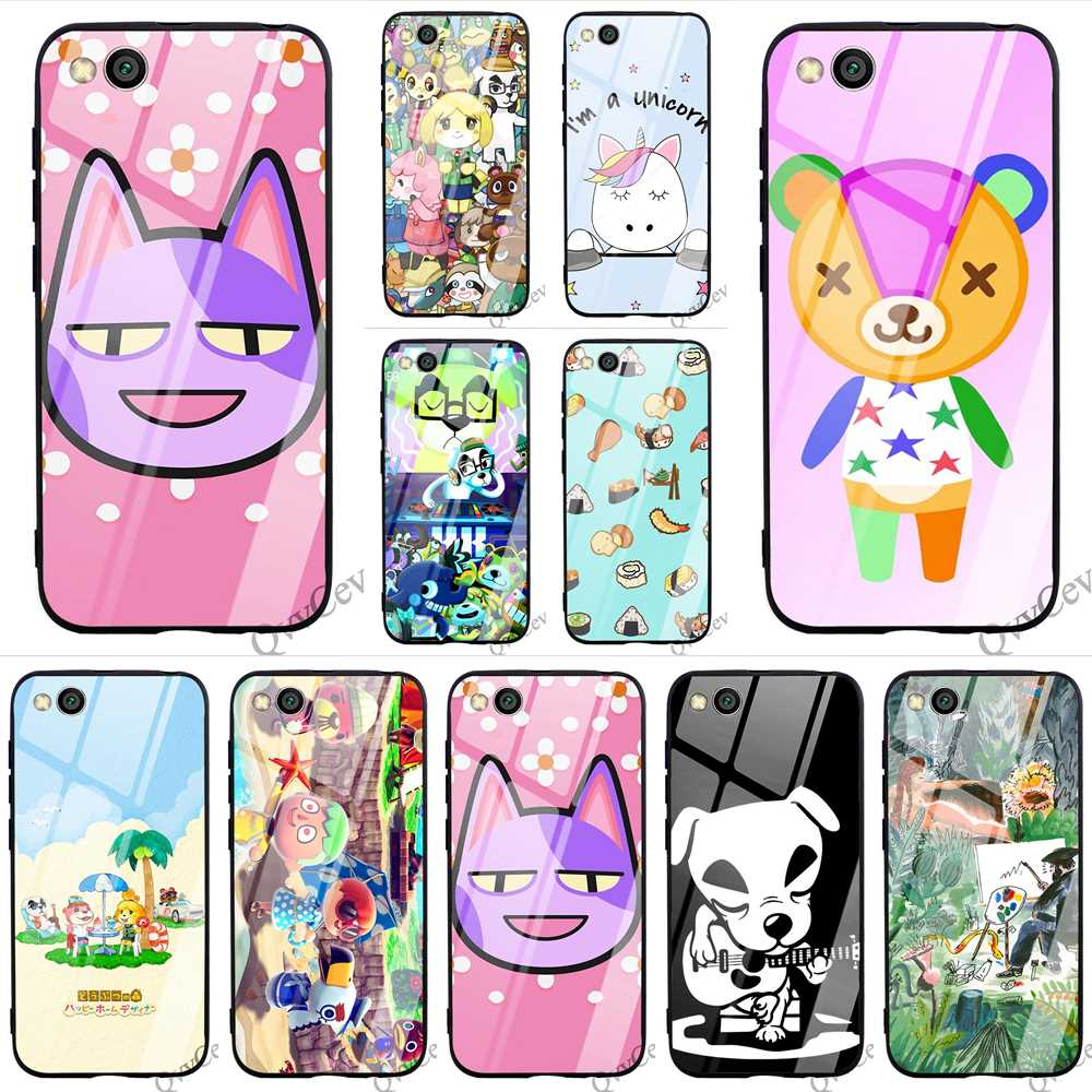 Colorful Animal Crossing Tempered Glass Phone Cover For Redmi Note 6 Pro Case Xiaomi A1 A2 Mi 9 8 Lite F1 4X 6A 7 5 Shell