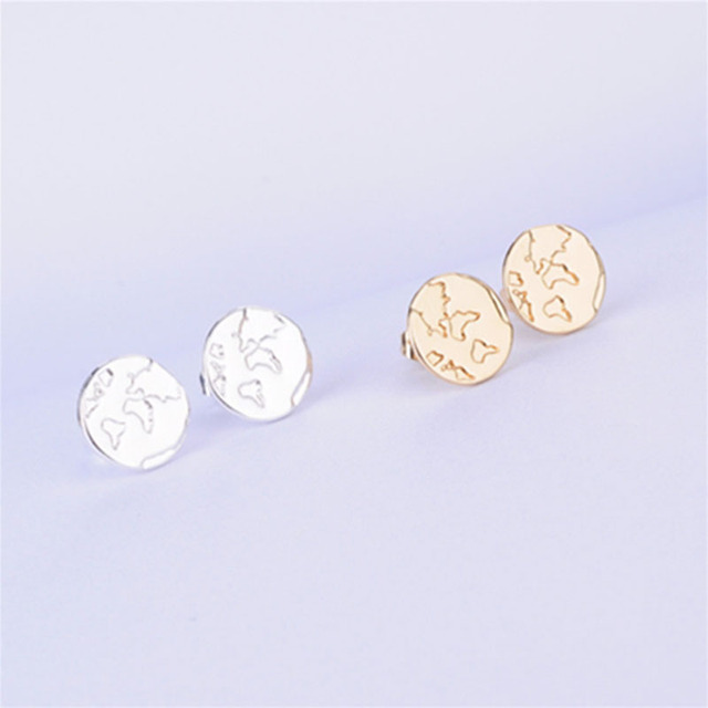 1Pair Cute Fashion Uneven Surface Sun Earring Lovely Copper Moon Studs  Earrings Jewelry For Women Gift