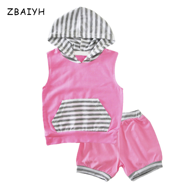 Baby Girl Sets Clothing Summer Hooded T shirt Tops+ Shorts 2 Pieces Suits Baby Striped Pink Cotton Infant Outfits Kids Clothes