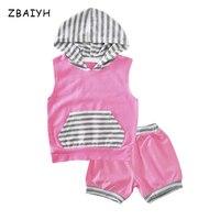 Bebek Kız Setleri Giyim Yaz Kapüşonlu T Shirt Tops + Şort 2 Parça Takım Elbise Bebek Çizgili Pembe Pamuk Bebek Kıyafetler Çocuklar giysi