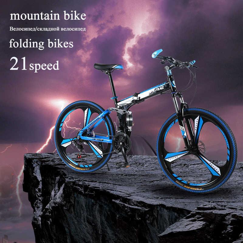 Wolf Fang Sepeda Gunung 21 Kecepatan 26 Inch Folding Bike Sepeda Jalan Double Disc Rem Lipat Sepeda Gunung mahasiswa Sepeda
