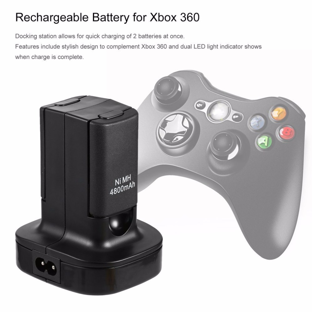 4800mAh Charging Station Charger Dock+2X 4800mAh Rechargeable Battery 96*80*67 mm For Microsoft Xbox 360 Digital