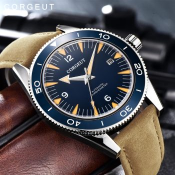Corgeut Luxury Brand Seepferdchen Military Mechanical Watch Men Automatic Sport Design Clock Leather Mechanical Wrist Watches