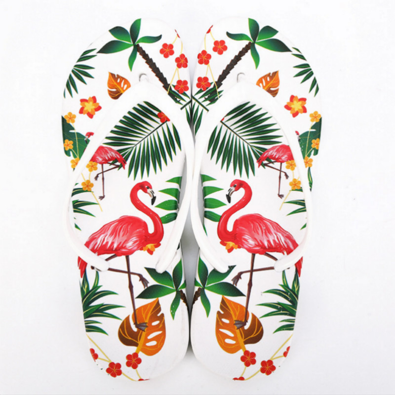 Women Beach Flip Flops Flamingos Floral 2018 Summer Fashion Slippers Ladies Comfy  Shoes Woman Home Flat Sandals