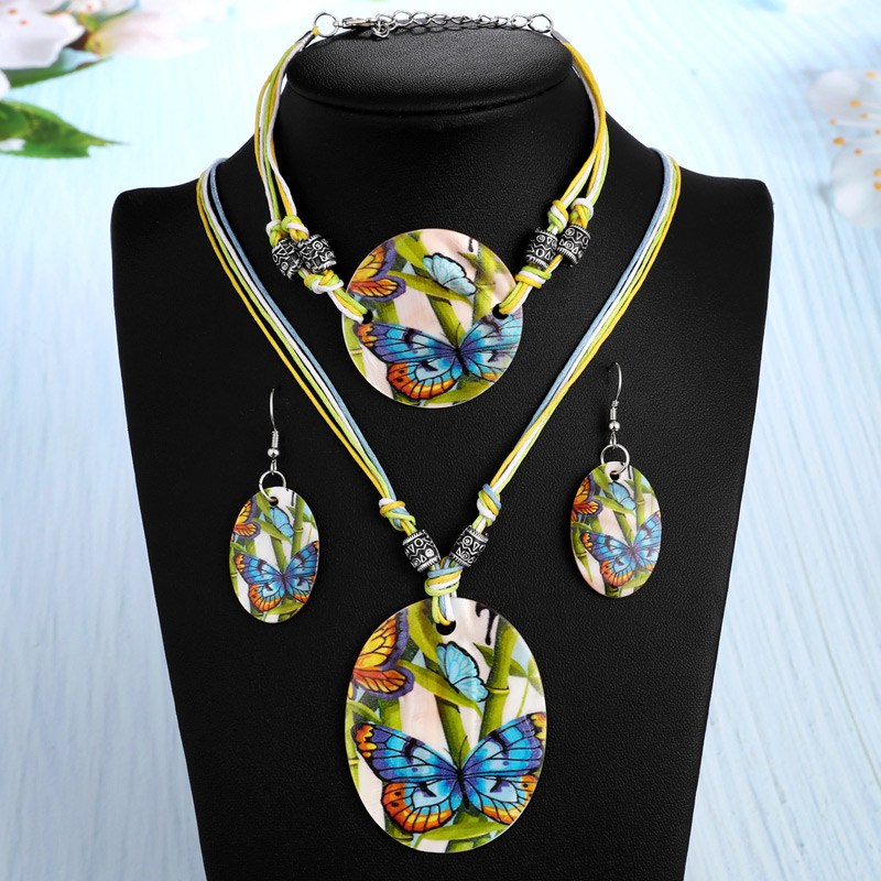 amazing price Fashion Jewelry Set Leather Chain Enamel Shell Necklace Earrings Bracelet Jewelry Sets Summer Bridal Jewelry Sets