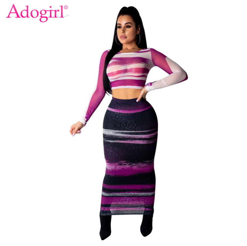 Adogirl Stripe Print Sheer Mesh Two Piece Set Dress Fashion Sexy Long Sleeve Crop Top Bodycon Maxi Skirt Women Club Party Dress