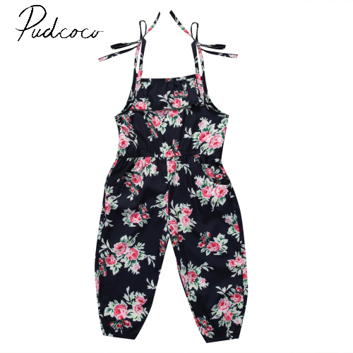 Pudcoco 2017 New Fashion Pullover Floral Infant Kids Baby Girls Sleeveless Romper Jumpsuit Child Summer Clothes Outfits 2-7Y
