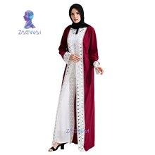 Zakiyyah Fashion Muslim Lace Maxi Dress Elegant Muslim Abaya Dress Open Abaya Middle East Ramadan Arab Islamic Clothing