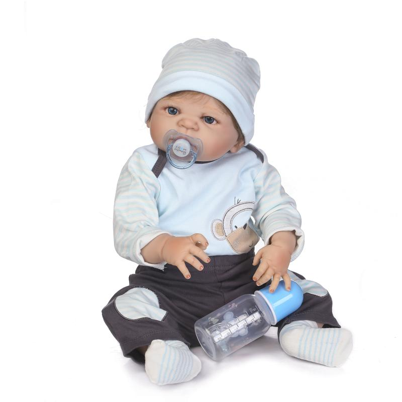 22 inch Baby Alive Baby Boy Doll 55cm Full Body Silicone Reborn Baby Dolls Blue Eyes Toys Baby Doll for Girls Christmas Dolls 55cm high quality reborn dolls baby simulation baby doll eyes will move to accompany sleep doll baby toys