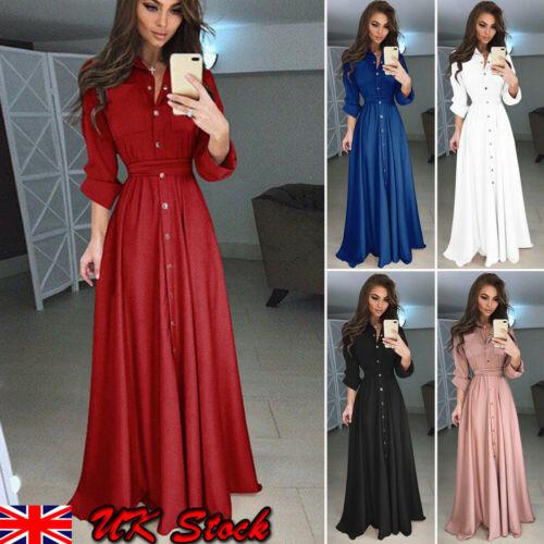 2019 New Fashion Hot Sale Ladies Long Sleeve Slim High-waist Floor-Length Dress Women Party Dress Clothing Five Colors S-XXXL