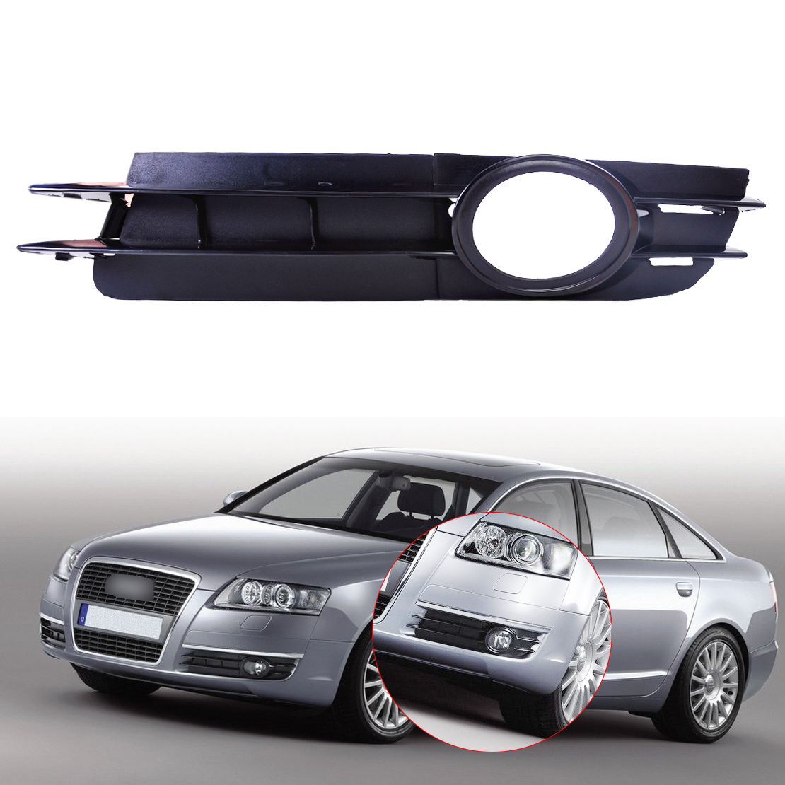 DWCX 4F0807681A Front Left Bumper Fog Light Lamp Grill Grille For Audi A6 / A6 Quattro C6 2005 2006 2007 2008 dwcx 81210 06050 81210 0d040 2pcs front fog light lamp 2pcs grille cover bezel for toyota corolla 2007 2008 2009 2010