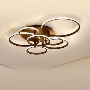 Image 3 - 現代のledシャンデリアホームリビングルーム天井器具ブラックホワイトランプとリモコンの寝室の照明光沢