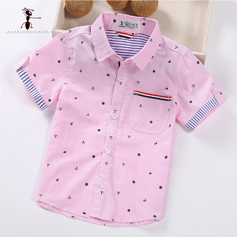 Kung Fu Ant Pink Low Price Short Sleeve Shirt Turn-down Collar Casual Boys Summer Blouse Pockets Camisa Infantil 1461 men s slim fit casual turn down collar solid color short sleeve polo t shirt