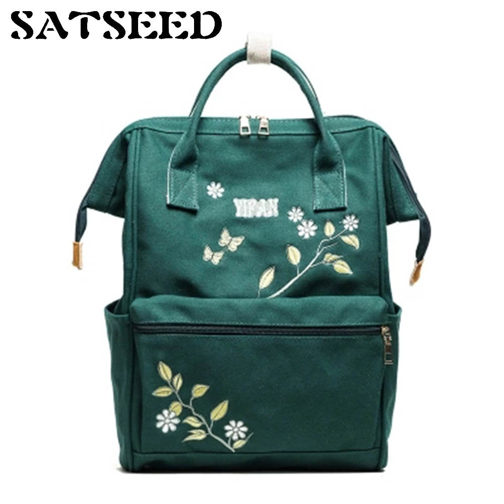 2018 New Women Bags All-match Canvas Bags Embroidered Flowers Backpacks Fashion Leisure Bags Schoolbags Zipper Softback Backpack tangimp drawstring backpacks embroidery dear my universe cherry rocket printing canvas softback man women harajuku bags 2018