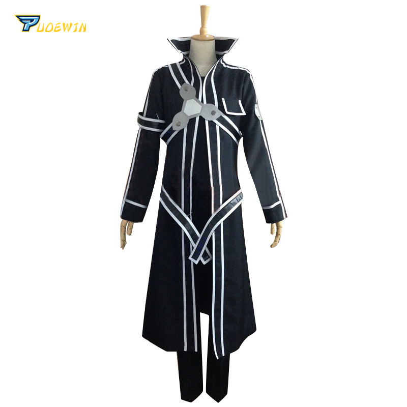 Sword Art Online Kirito Cosplay Costume Custom Made Any Size with Gloves