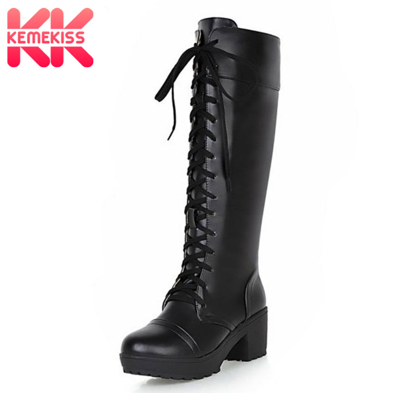KemeKiss Plus Size 33-48 Women Platform Black Shoes WomenS Lace Up Square High Heels Boats Knee High Warm Boots Add Fur Inside ...