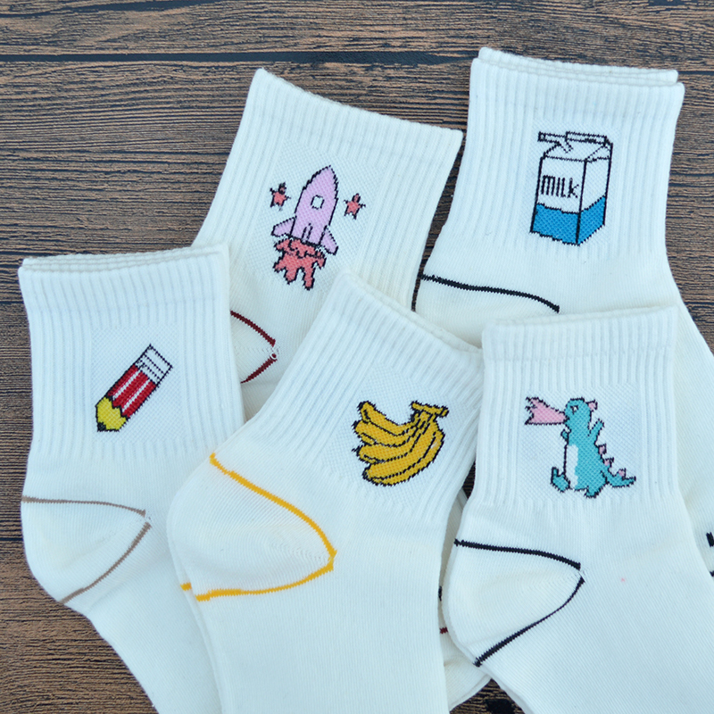 1 Pair White Harajuku Kawaii Women   Socks   Cotton Cute Cartoon Pencil/Rocket/Banana/Dinosaur/Milk Fashion Girls Letter Funny   Socks