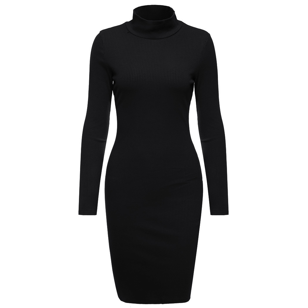 fe9864a3590 ... Women Sweater Dress Casual Turtleneck Long Sleeve Knitted Ribbed Dress  Female Solid Color Slim Dresses Vestidos ...