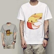 Amusing Pikachu Cartoon pattern Design Print Cotton O-NECK Short Sleeve Summer T-Shirt Fashion Casual Mens Tee Plus Size