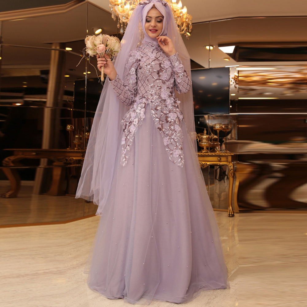 Vintage Long Sleeve Muslim Wedding Dress Civil Hijab Blush Pink Lace ...