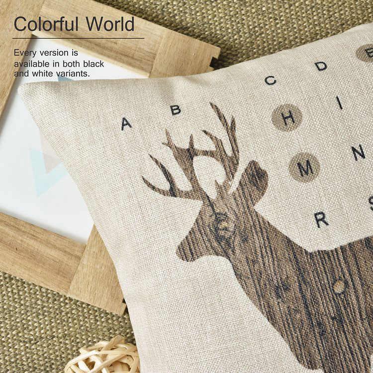 Bắc Âu Tree Deer che trang trí nội thất Linen gối bông trang trí bìa ném gối Pillowcase gỗ gối đệm