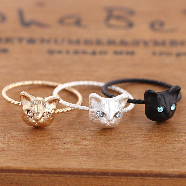Fashion 2017 1PC Girls New Black Silvery Golden Cute Animal Cat Rings For Women