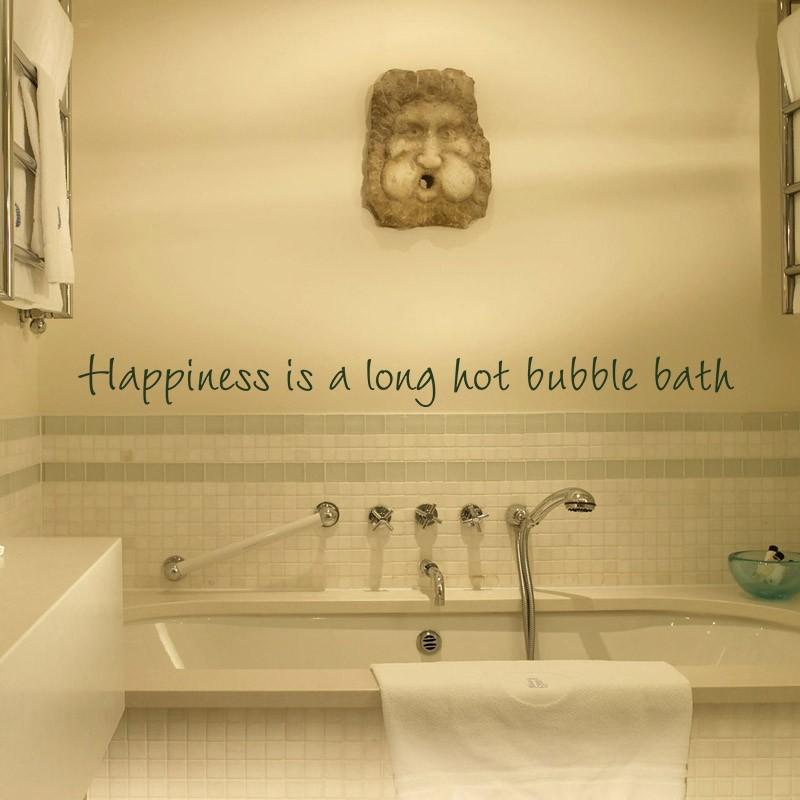 Happiness is a Long Hot Bubble Bath bathroom bath tub Wall Decal ...