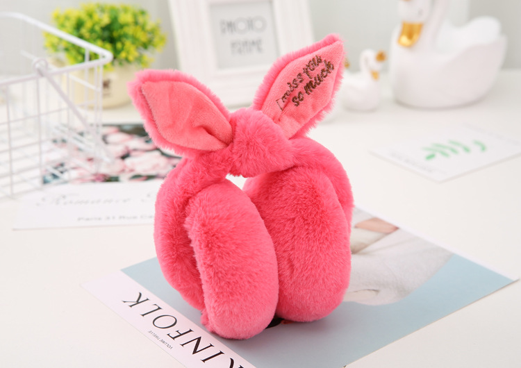 2018 New Fashion Casual Simple Winter Folding Cute Rabbit Ears Shape Plush Warm Women's Earmuffs Color Style Pink Red White Gray